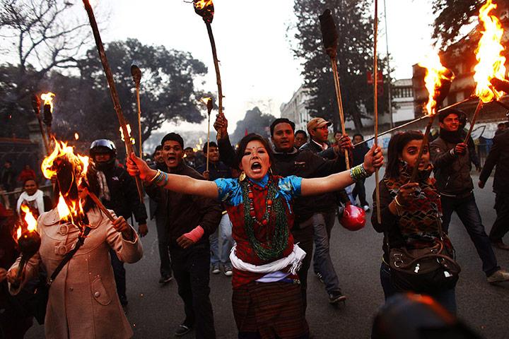 Катманду, Непал: активисты студенческих