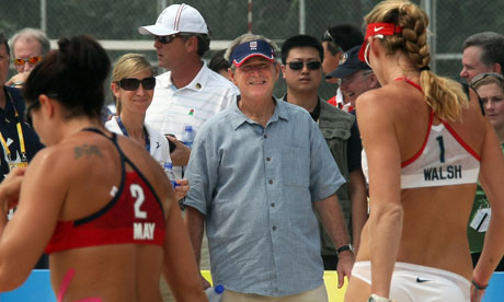 George Bush watches beach volleyball in 2008