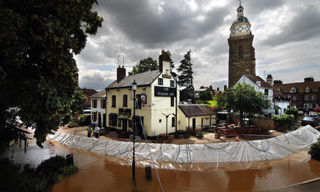 Flood defences in summer 2007 at Upton on Severn, Worcestershire