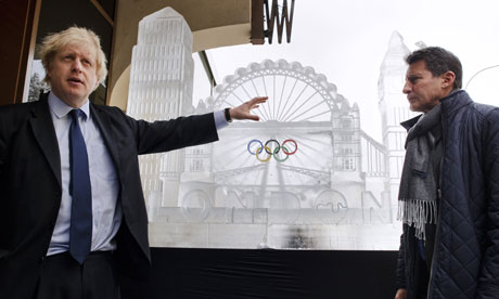 Mayor of London Boris Johnson with chair of the London 2012 Organising Committee Sebastian Coe