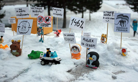 Toys playing the role of demonstrators. Photo courtesy of Sergey Teplyakov/vkontakte