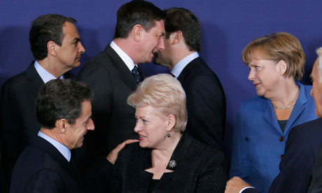 European Union leaders take part in a family photo at an European Union summit in Brussels
