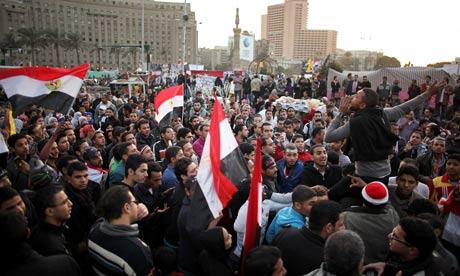 Demonstrators in Cairo Egypt