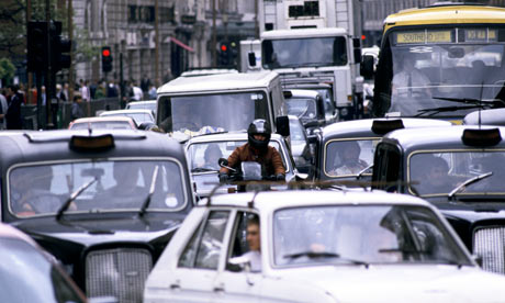 A traffic jam in London