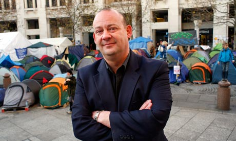 Giles Fraser by the Occupy camp outside St Paul's Cathedral.