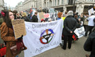 Protesters in the West End campaign against the government's welfare reform bill