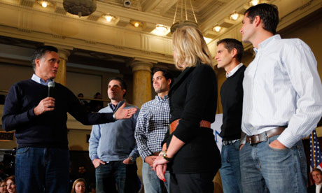 Mitt Romney introduces his sons at a campaign rally in Des Moines