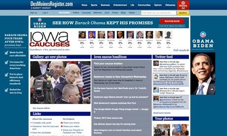 Des Moines Register homepage on Iowa caucus day