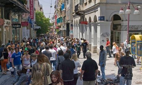 Shoppers on Ermou street, Athens