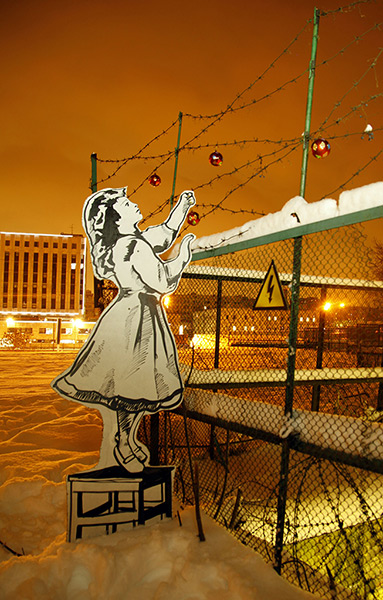 P183 the Russian Banksy: Street art of P183, known as the Russian Banksy, Moscow, Russia - Jan 2012