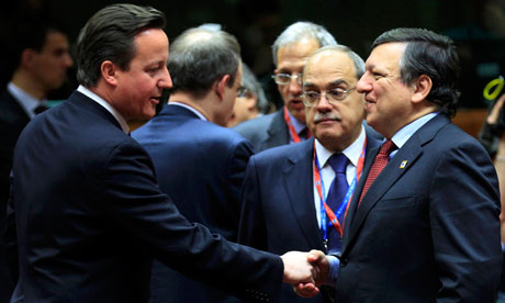 Britain's PM Cameron meets European commission president José Manuel Barroso at the EU summit