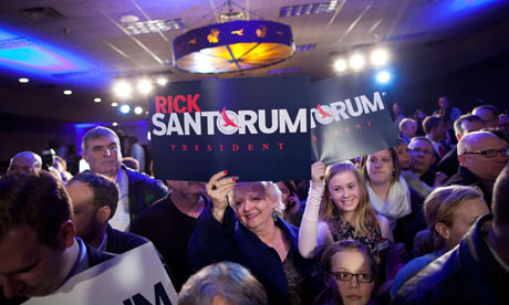 Rick Santorum supporters in Johnston, Iowa