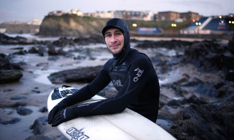 Surfer Ori Matas on Towan Beach in Newquay, Cornwall