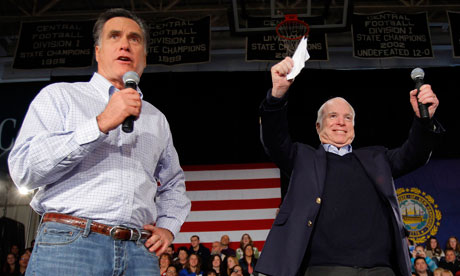 Mitt Romney is joined by John McCain