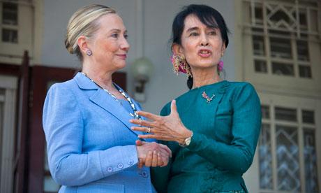 Aung San Suu Kyi with Hillary Clinton, December 2011.
