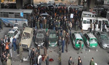 A terrorist explosion in al-Midan quarter in Damascus, Syria
