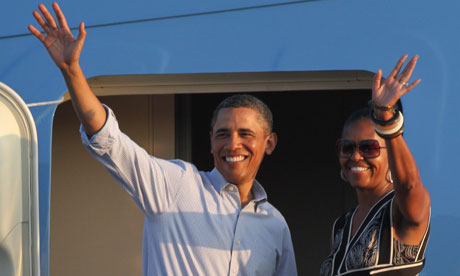 Barack and Michelle Obama leaving Hawaii