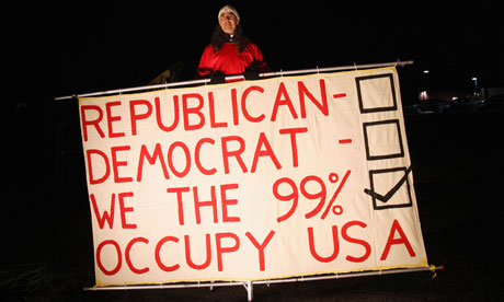 Occupy demonstrator at New Hampshire GOP debate