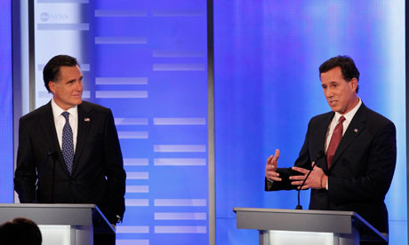 Mitt Romney and Rick Santorum at the New Hampshire debate