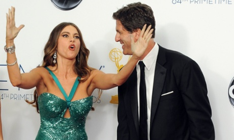 Modern Family actor Sofia Vergara, left, with the show's director, Steven Levitan