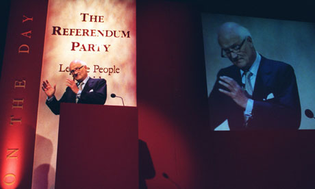 After contemplating a military coup Sir James Goldsmith went on to form the Referendum party, slogan: Let the People Decide. Photograph: Jacqueline Arzt/AP