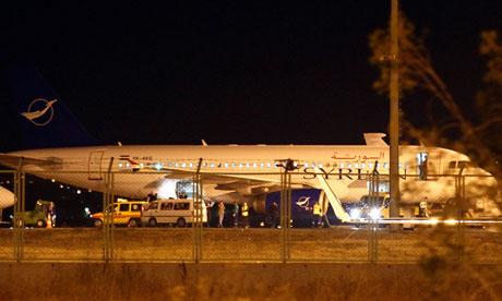 Syrian passenger plane at Esenboga airport in Ankara