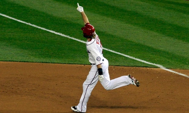 WASHINGTON, DC - OCTOBER 11:  Jayson Werth #28 of the Washington Nationals celebrates as he rounds first base on his solo game-winning walk-off home run in the bottom of the ninth inning against the St. Louis Cardinals during Game Four of the National League Division Series at Nationals Park on October 11, 2012 in Washington, DC.  (Photo by Patrick McDermott/Getty Images) Baseball National League playoffs playoff NLDC divisional topics topix bestof toppics toppix