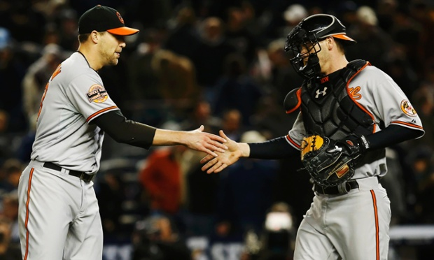 Matt Wieters congratulates Jim Johnson after the Baltimore Orioles defeated New York 2-1 in 13 gut crunching innings at Yankee Stadium. That means we'll have a decisive Game Five on Friday in the ALDS.