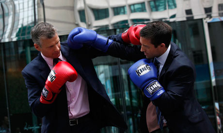 Richard Rouse and Brad Moreland of HSBC pose ahead of their Hedge Fund Fight Nite white collar charity boxing event in Hong Kong in 2012. Photograph: Bobby Yip/Reuters