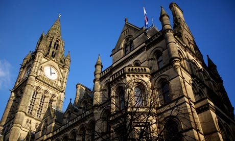 The clock face at Manchester Town Hall