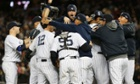 The New York Yankees celebrate their defeat of the Baltimore Orioles in Game Five of the ALDS. They advance to play the Detroit Tigers in the American League Championship Series.