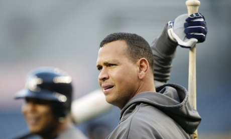 New York Yankees third baseman Alex Rodriguez stretches during batting practice before Game 1 of the American League championship series against the Detroit Tigers on Saturday, Oct. 13, 2012, in New York. (AP Photo/Matt Slocum)