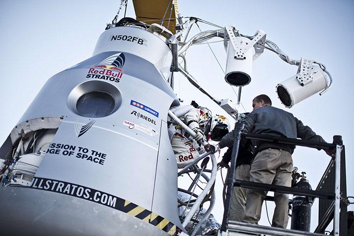 Felix Baumgartner: Felix Baumgartner steps into the capsule during the final manned flight
