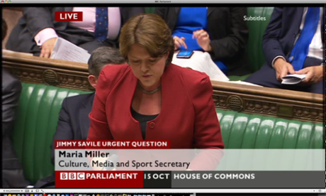 Maria Miller, the cuture secretary, answering questions in the Commons about Jimmy Savile