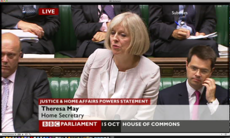Theresa May, the home secretary, making a statement about EU justice powers