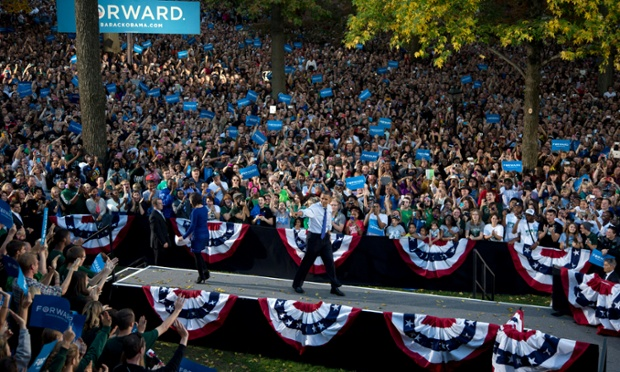 President Obama and his campaign team put on quite a show for supporters at a rally at Ohio University in Athens, Ohio.