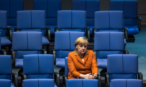 German chancellor Angela Merkel is captured in contemplation after delivering a government policy statement during a session of the Bundestag, the German lower house of parliament, in Berlin