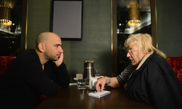 Director Pablo Trapero chats to a journalist at a film-maker afternoon tea event during the 56th BFI London film festival at the Mayfair Hotel