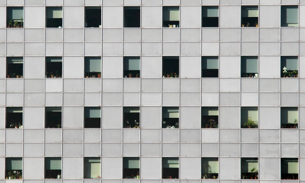 Potty building: Flower pots are seen at almost all the windows of an office building in Bucharest, Romania. Photograph: Radu Sigheti/Reuters