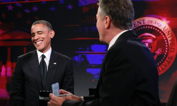 U.S. President Barack Obama (L) participates in a taping of the Daily Show with Jon Stewart at the Comedy Central Studios in New York. Obama campaigned in New Hampshire on Thursday before attending a taping of the Daily Show and attending the 67th Annual Alfred E. Smith Memorial Foundation dinner in New York. Photograph: Jason Reed/Reuters