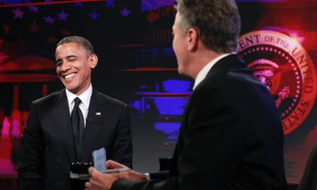 U.S. President Barack Obama (L) participates in a taping of the Daily Show with Jon Stewart at the Comedy Central Studios in New York. Obama campaigned in New Hampshire on Thursday before attending a taping of the Daily Show and attending the 67th Annual Alfred E. Smith Memorial Foundation dinner in New York.