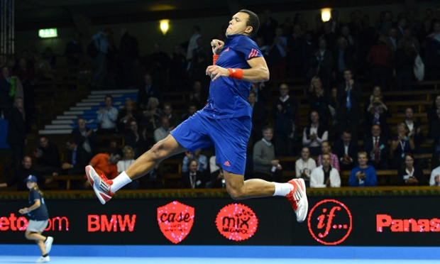 Yippee!: France's Jo-Wilfried Tsonga reacts as he beats Japan's Go Soeda during the ATP Stockholm Open tennis tournament in Stockholm. Tsonga beats Soeda with the score 6-2 7-6.