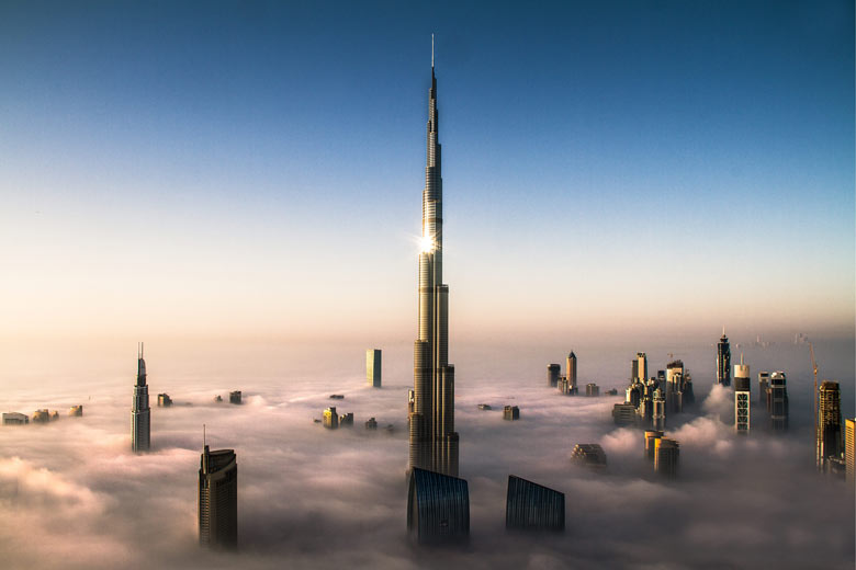 The world's tallest building, the Burj Khalifa in Dubai