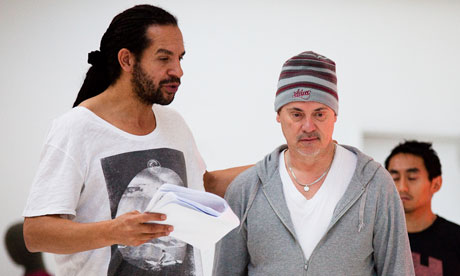 A rehearsal for the RSC's Orphan of Zhao. Joe Dixon as Tu'an Gu and Graham Turner as Dr Cheng