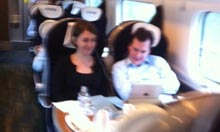 George Osborne and his aide on the train