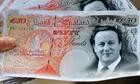 Mocked-up banknotes featuring David Cameron