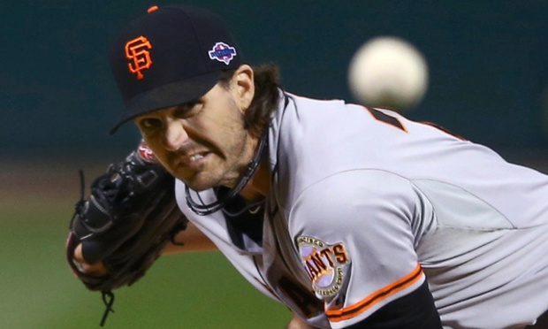 Barry Zito has given the San Francisco Giants the most unexpected start of the MLB playoffs tonight. Reuters/Elsa/Pool.