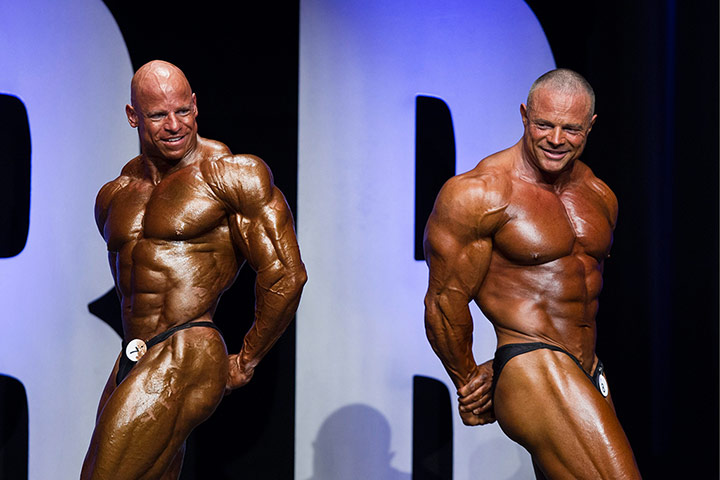 Bodybuilding: Competing bodybuilders on stage
