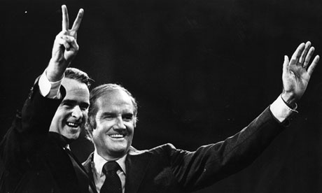George McGovern, right, with his running mate Thomas Eagleton