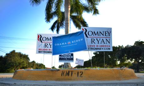 Romney Obama signs in Boca Raton